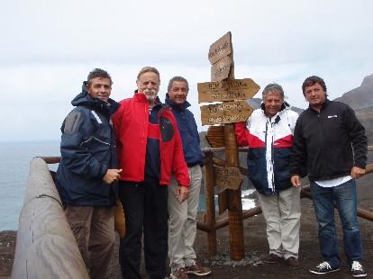 La tripulación en Capelinhos